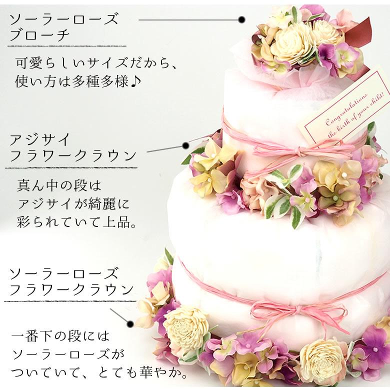 出産祝い女の子 おむつケーキナチュール