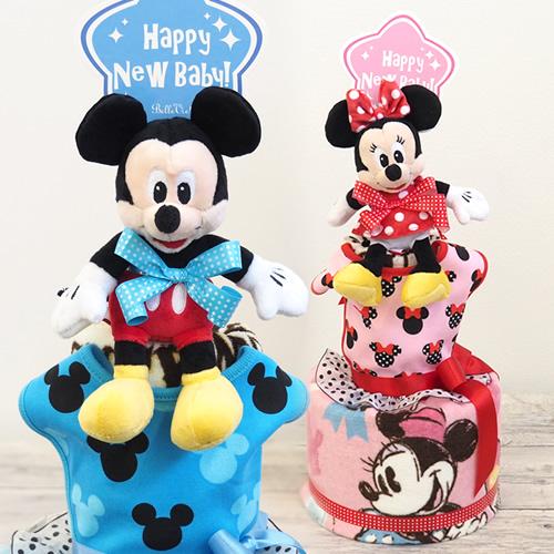 ミッキーマウス&ミニーマウスタオルおむつケーキ