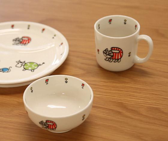 [リサラーソン] 陶器の子供用食器3ピースセット